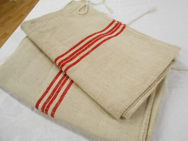 PAIR Vtg Antique RED STRIPE HEMP LINEN King Pillowcase FEED SACK GRAIN BAG 18X43