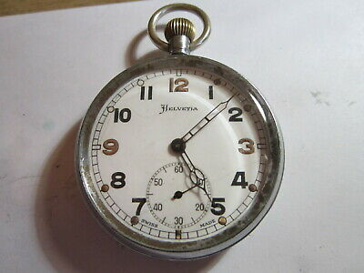 Vintage Helvetia GSTP military pocket watch WW2