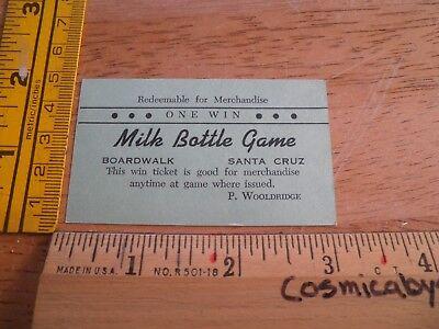 Milk Bottle Game Boardwalk Santa Cruz P Wooldridge One Win Ticket prizes VINTAGE