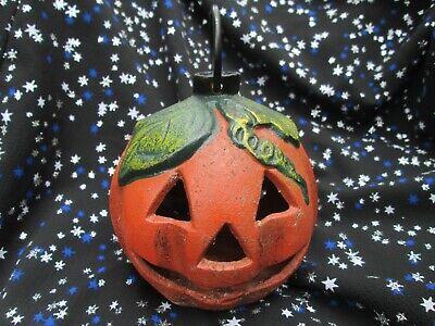 Vintage Cast Iron Heavy Jack-O-Lantern Pumpkin Candle Holder Halloween LANTERN