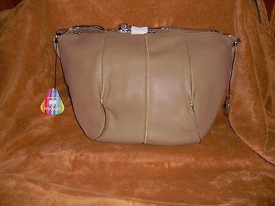 Mywalit Hobo Handbag Mushroom Chocolate Leather NWT MSRP 294.00