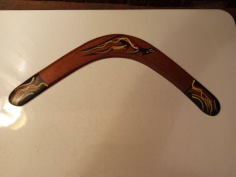 "VTG 14"" Boomerang Hand-painted Wood Aboriginal Murra Wolka Creations Australia"