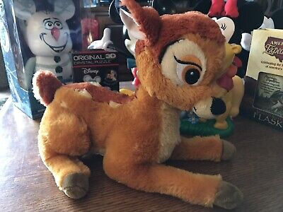 "Authentic Vintage Disney BAMBI Stuffed Plush Super Soft Deer Animal 12""L x 9""H"
