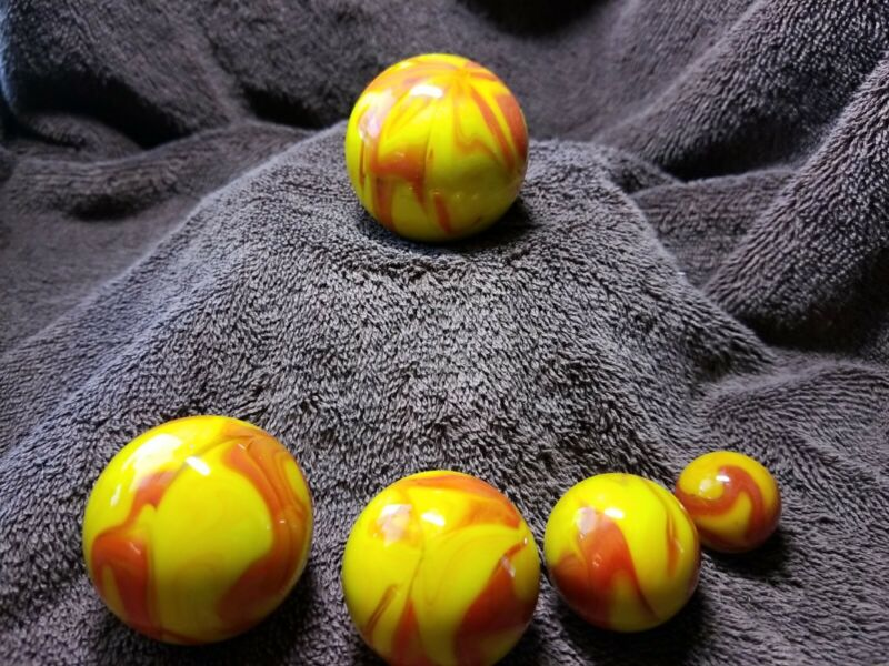 5-pc Marble Set, Signed By Eddie Seese 00, Or/Red