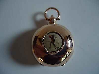 V.Rare! Antique 9ct Rose Gold 'Golfers' Sovereign Holder Case 1911.