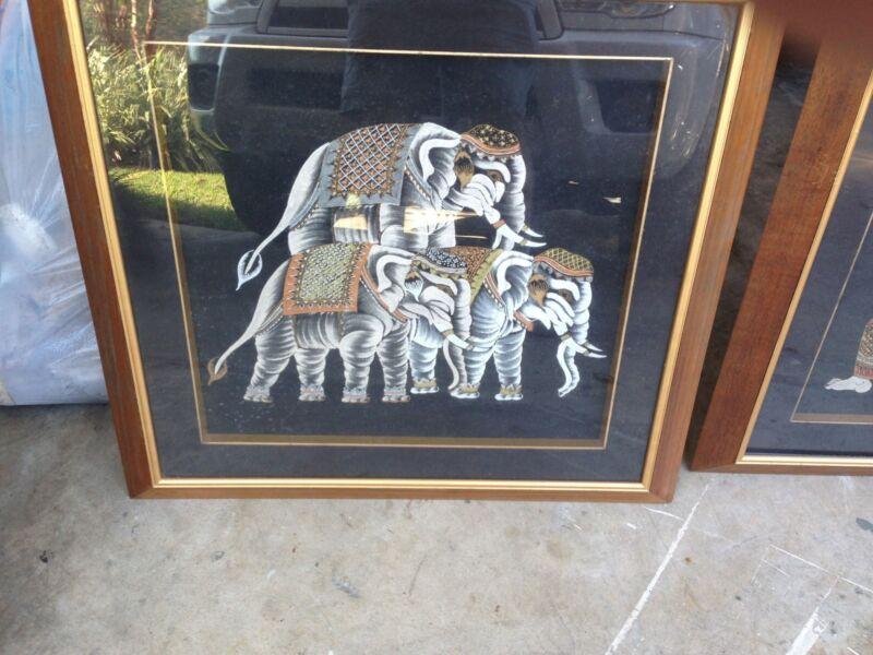 Elephants Philippine Art  Painting on Silk Asian  bought in Manilla 1971