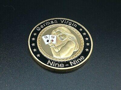 GERMAN VIRGIN PAIR OF NINE Casino Poker Chip Coin Card Guard Protector