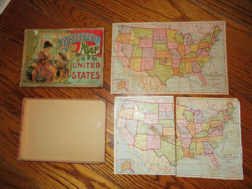 Antique McLoughlin Dissected Map of the United States Puzzle 1887 Complete w Box