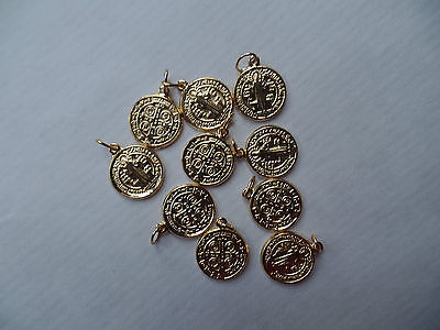 10 Pcs Benedict Medal Golden 13 mm with Ringel Made of Metal