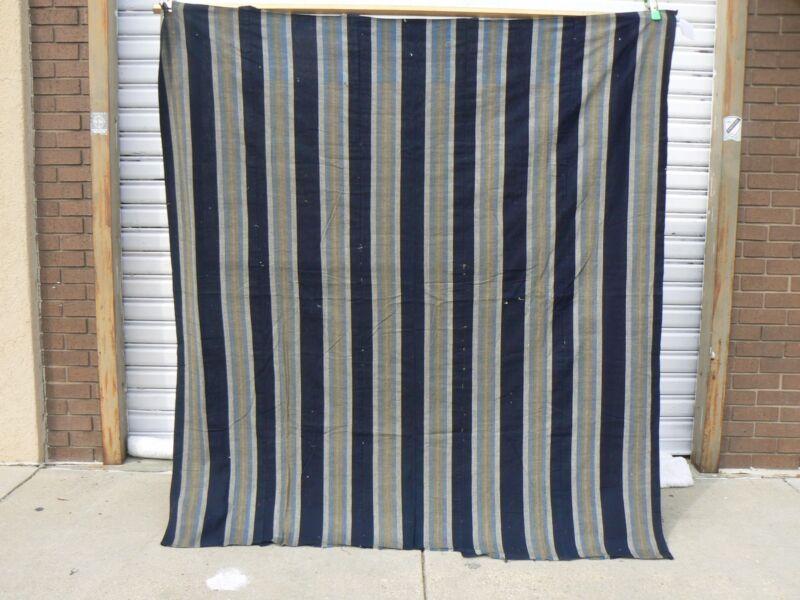 JT - 400 Vintage Japanese Striped Indigo Cotton Boro Futon Cover Textile Cloth