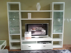 Nick Scali Horizon entertainment unit in white Curtin Woden Valley Preview
