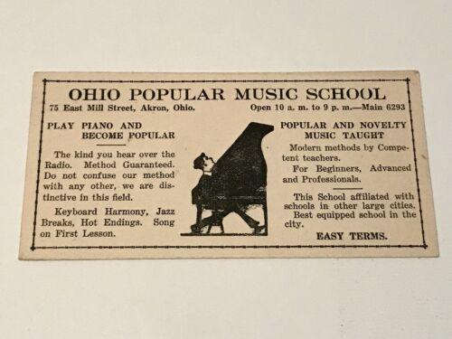 VINTAGE OHIO POPULAR MUSIC SCHOOL AKRON OH ADVERTISING INK BLOTTER CARD PIANO