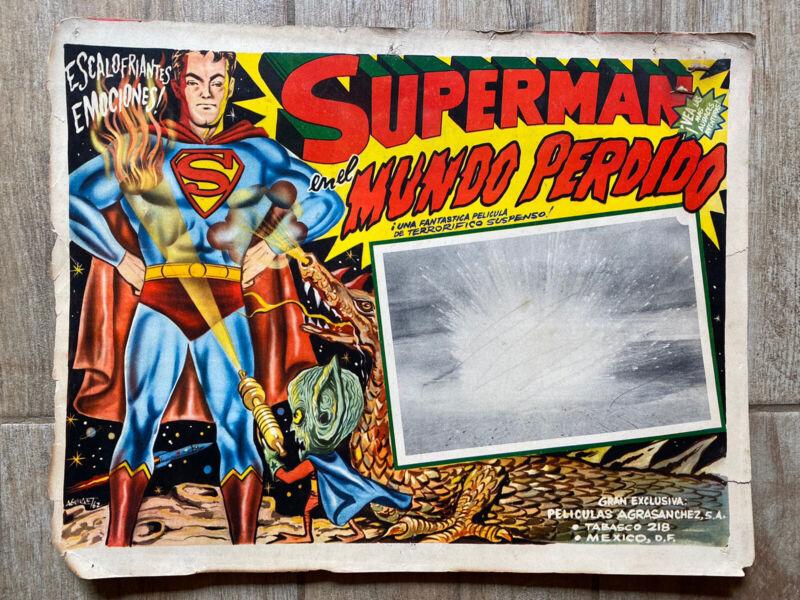 """Superman En El Mundo Perdido Original Lobby Card 1962 Mexican 13x17"""" Reeves"""
