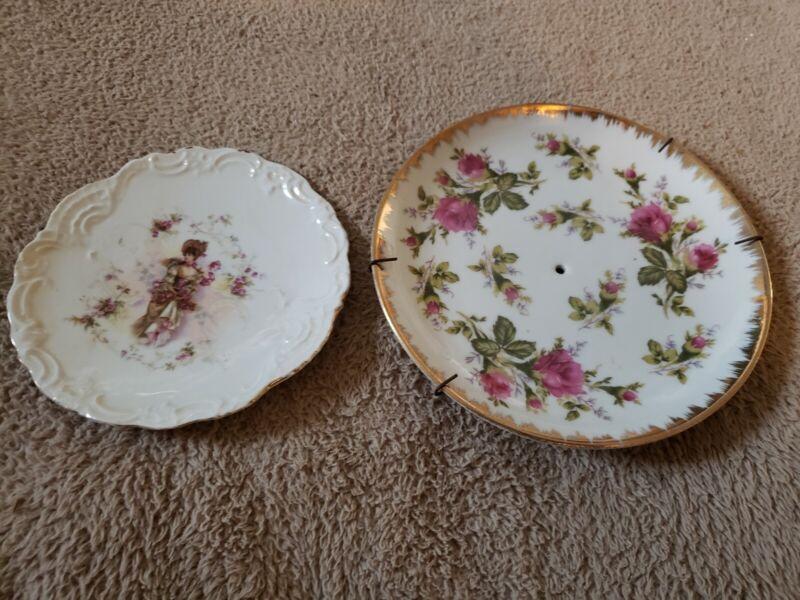 Vintage Lot of 2 Plates Original Napco China Handpainted Flowers Lady Dress