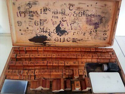 Vintage Printing Rubber Stamp Wooden Box Set Lithography 77 Stamps Ink Pad