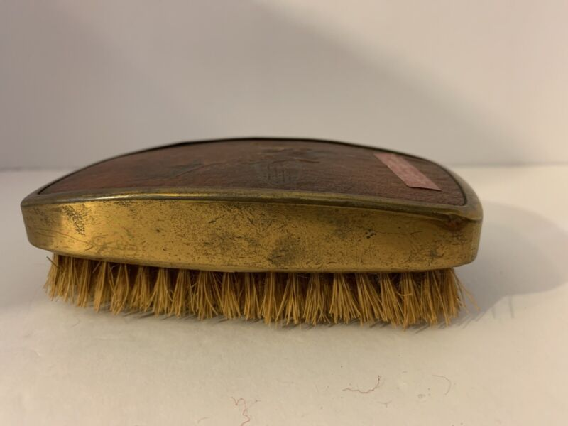Vintage Shoe Shine Brush With Leather Handle Cover Unique