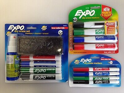 Lot Of 3 Expo 80653 Dry Erase Marker Set Assorted Magnetic Erase Extra Bag74