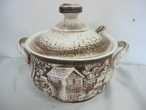 VINTAGE EMBOSSED SOUP TUREEN OLD MILL CABIN FOREST SCENE WITH LADLE BROWN WHITE