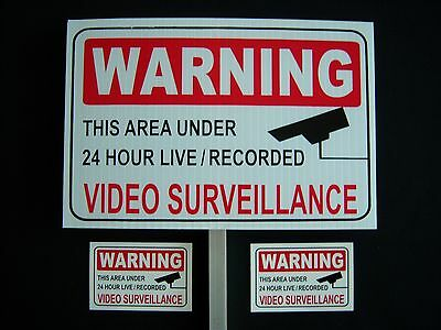 1 Video Surveillance Security Sign 2 Decals - 1 Stake ..ps-419