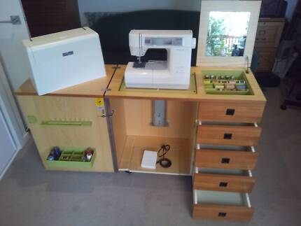 JANOME SEWING & EMBROIDERY MACHINE & CABINET.