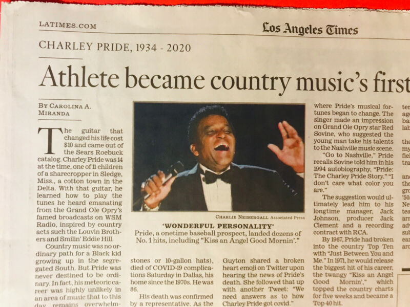 CHARLIE PRIDE 1934-2020  LOS ANGELES TIMES OBITUARY