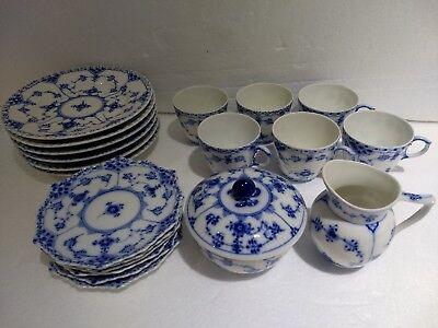 Royal Copenhagen Blue FULL LACE DEMI Cups Saucers 1038 Sugar Creamer 21pc 1st