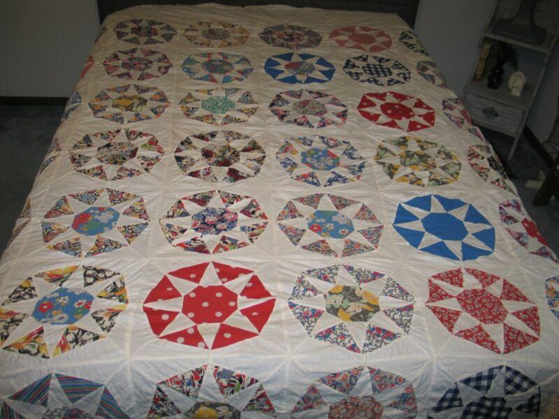 Antique Star Wheel Quilt-TOP Primitive 8 Point Star Feedsack Hand Pieced HTF