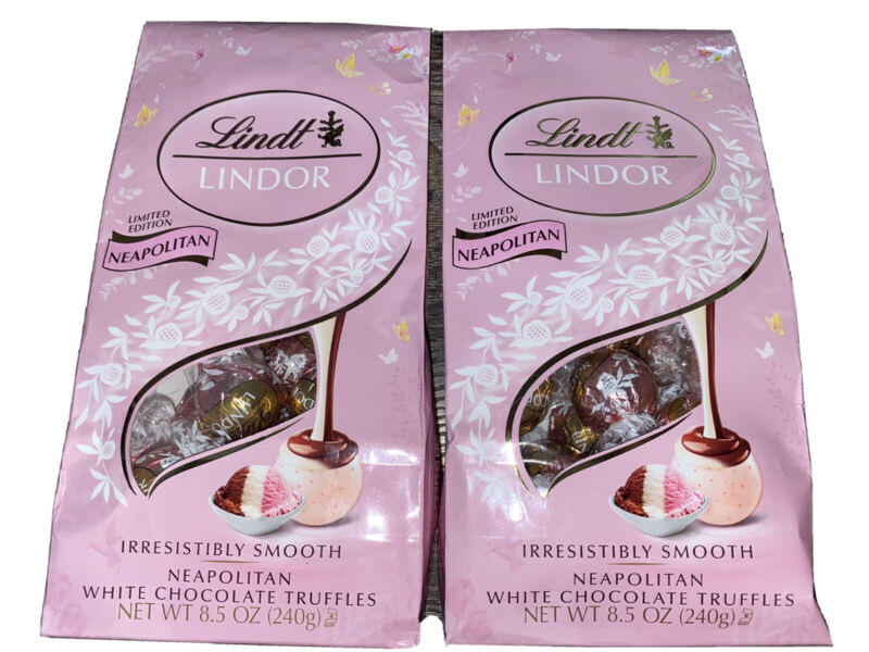 Lindt Lindor 2-Bags Neapoolitan Truffles White Chocolate Candy 8.5 oz,  08/2021
