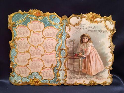 Sweet 1894 Diecut Lithographed Calendar Beautiful Little Girl Metropolitan Life