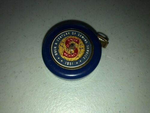 S7 RARE Vintage Singer Blue & Brass Century of Sewing 1851-1951 Tape Measure
