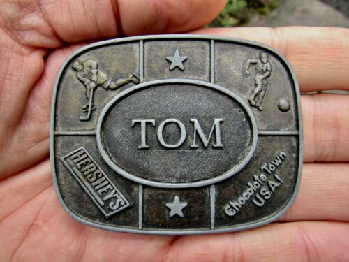 Vtg THOMAS Belt Buckle TOM Hershey Park Chocolate Kinney NAME Tommy RARE VG+