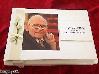 Book of Condolence Funeral Memorial Guest Book Bereavement Personalised Photo