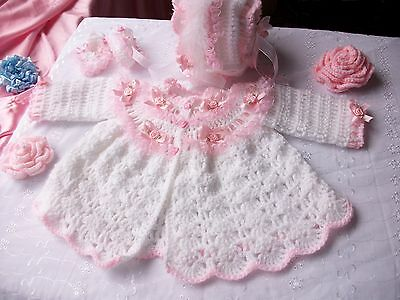 (Free P&P,Baby crochet pattern, coat, bonnet + booties. Matinee set, Romany, Girl)