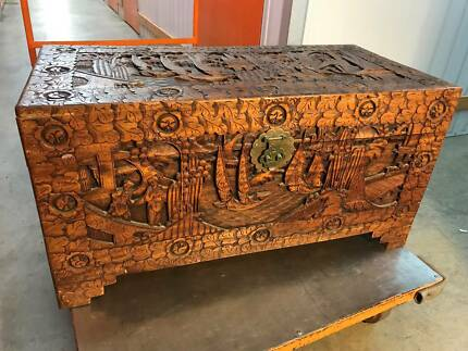 Large Vintage Carved Chinese Camphor Wood Blanket Storage Trunk