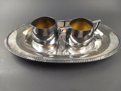 Vintage Antique American EPNS Silverplate Tray + Nobility Plate Sugar & Creamer