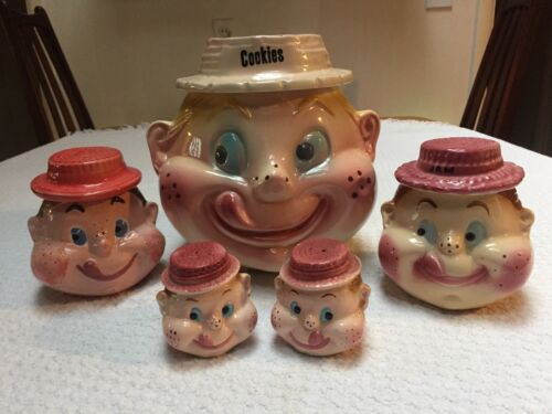American Bisque Freckled Face Jam Girl Jar with Blond Hair and Raspberry Hat