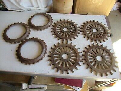 Vintage Lot Of 7 Cast Iron Planter Plates 4-ih 3127a Lot 21-38-2