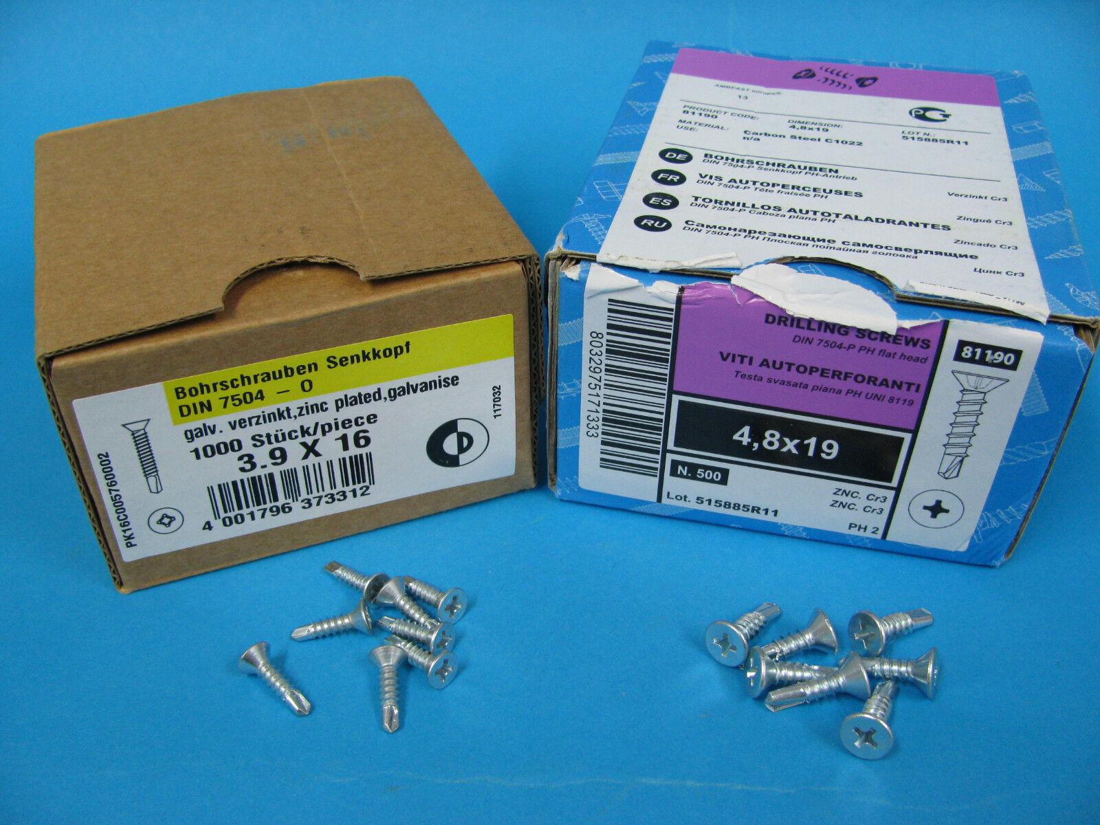 DIN 7504 Bohrschrauben selbstschneidend Senkkopfschrauben Blechschrauben verz.