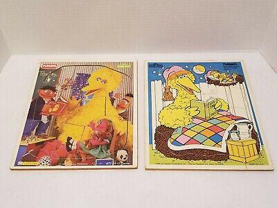 Vintage Playskool Sesame Street Big Bird Wooden Frame Tray Puzzles - 1980s