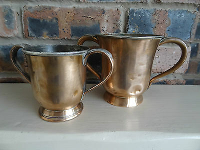 Two Antique Copper Tankard two handled