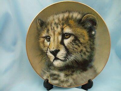 "Princeton Gallery Ltd. Edition 12197 Porcelain 8.5"" Cheetah Cub Plate By Qua"
