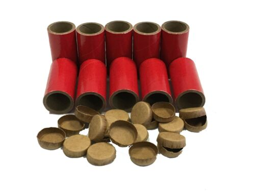 10 Firework Tubes And Caps Heavy Wall 1/4 Stick Red 1 x 2-1/2 x 1/8 Salute