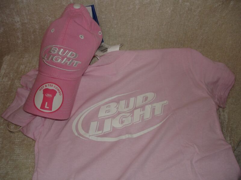 NEW LARGE PINK BUD LIGHT BEER CAP LOGO AND T-SHIRT COMBO