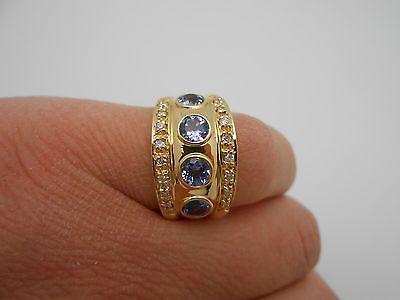 Stunning & Wide 14k Yellow Gold Natural Tanzanite Diamond Band Ring Size 7