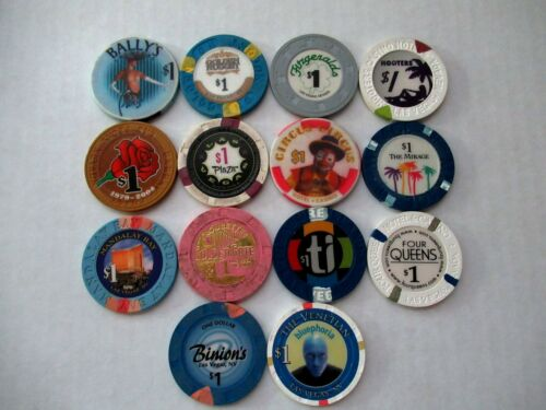 LOT OF 14 VTG LAS VEGAS CASINO $1 POKER CHIPS ALL DIFF. BINIONS*4 QUEENS*HOOTERS