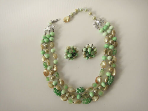 Vintage Green Glass Beads Necklace Earrings Triple Strand Faux Pearl Jewelry Set