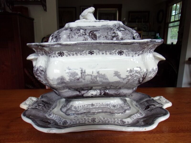 Romantic Staffordshire Transferware Soup Tureen with Underplate