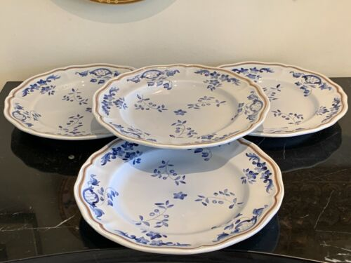 Longchamp Normandie Blue Floral Dinner Plates Set of 4