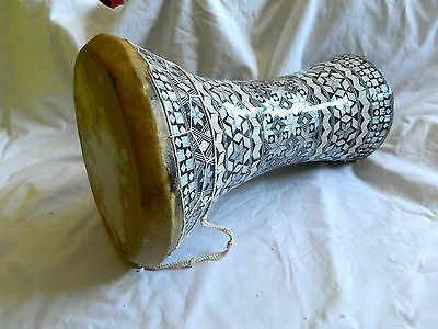 """Egyptian Mother of Pearl Wooden Drum-Tabla-Doumbeck 8.5"""" Head and 17"""" High WOW!! for sale  Chula Vista"""