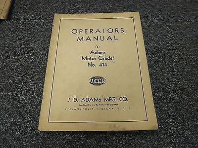 Jd Adams 414 Motor Road Grader Owner Operator Maintenance Manual User Guide